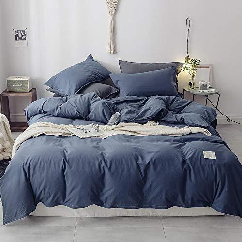 JONJUMP Gray Blue Cotton Duvet Cover Fitted Sheet Bed Set 4pcs King Twin Size Bedding Sets Bedclothes 4 Pcs