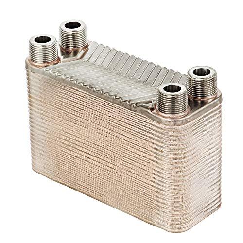 Mophorn Plattenwärmetauscher 50 platten Wärmetauscher edelstahl 4,5 MPa Heat Exchanger Wärmetauscher für Fußbodenheizung (B3-12A-50)