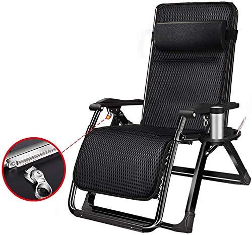 TOPNIU Sillas de Cubierta Negro Plegable Reclinable Acolchado Completo con Bandeja de Taza, sillón de salón Exterior Cero para Dormitorio/balcón/Patio