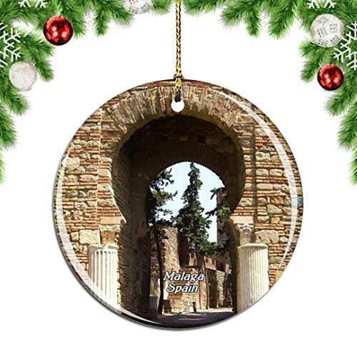 Weekino España Alcazaba Castillo Málaga Decoración de Navidad Árbol de Navidad Adorno Colgante Ciudad Viaje Colección de Recuerdos Porcelana 2.85 Pulgadas