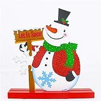 リンクリスマスショップホテルレストランの装飾、キラキラパウダー木製雪だるまパターンクリスマス装飾飾りギフト Chenhuis (Color : Color1)