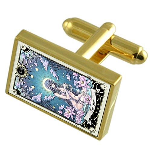 Select Gifts La carte de tarot Star Gole-ton Coffret Cravate boutons de manchettes en option gravé