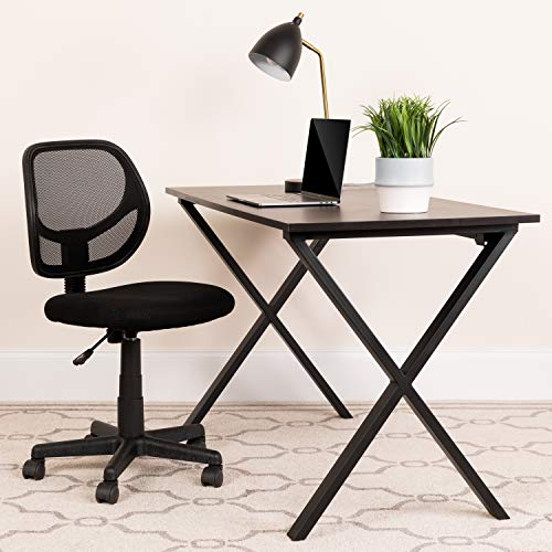 Flash Furniture Low Back Black Mesh Swivel Task Office Chair with Curved Square Back, BIFMA Certified