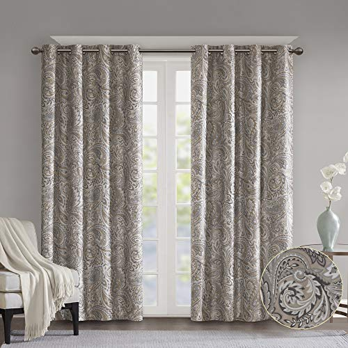 SUNSMART Jenelle Paisley Total Blackout Window Curtains for Bedroom, Living Room, Kitchen, Faux Silk with Traditional Grommet, Energy Savings Curtain Panels, 1-Panel Pack, 50x63, Taupe
