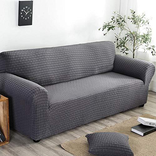 Funda de Fofá Elástica,Funda de sofá elástica, funda de sofá antideslizante de jacquard de punto con todo incluido, funda a prueba de polvo para muebles de sofá para todas las estaciones, gris oscuro