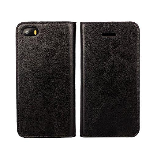 Copmob Funda iPhone 5S,Funda iPhone 5,Premium Flip Billetera Funda de Cuero,[3 Ranuras para Tarjetas][Función de Soporte][TPU a Prueba de Golpes],Carcasas Cover para iPhone 5S/5/SE - Negro