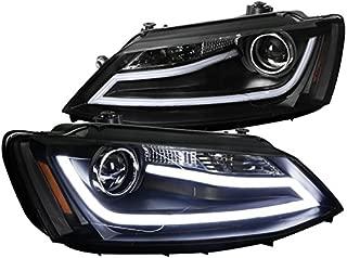 Spec-D Tuning 2LHP-JET11JM-TM VW Jetta MK6 Euro Black Projector Headlights+LED DRL Light Bar