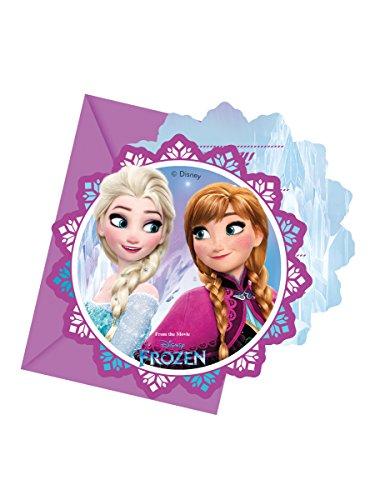 6 cartes d'invitation + enveloppes La Reine des Neiges Flocons - taille - Taille Unique - 236378