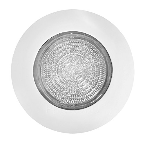 """PROCURU 6"""" Fresnel Glass Lens with White Metal Shower Trim - for Wet Locations - for 6"""" Recessed Can Lights - UL Listed (White-Fresnel (1-Pack))"""