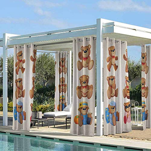 ParadiseDecor Cartoon Patio Curtains for Pavilion/Porch/Yard/Cabin Set of Cute Happy Teddy Bears with Funny Different Faces Nostalgic Kids Design Chocolate Cream 100W x 84L Inch