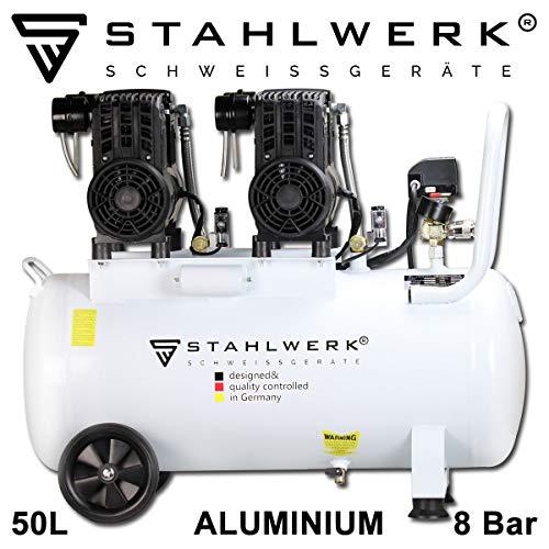 STAHLWERK Druckluft Flüsterkompressor ST 508 pro - 50 L Aluminium Kessel, 8 Bar, ölfrei, 240 L/Min, sehr leise, sehr kompakt, weiß, 7 Jahre Garantie