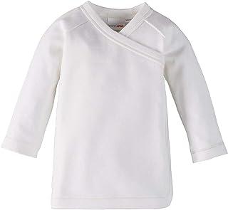 Bornino GOTS Raglan-Flügelhemd Langarm - Langarmshirt aus Reiner Baumwolle für Babys - unifarbenes Oberteil mit seitlichen Druckknöpfen - weiß