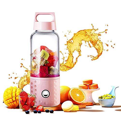 Mini draagbare USB oplaadbare Juicer, 500ml Mini Personal Electric Mixer met 4 roestvrijstalen messen Mixer Fruit Babyvoeding Blender for thuis, kantoor, sport, reizen, White (Color : Pink)