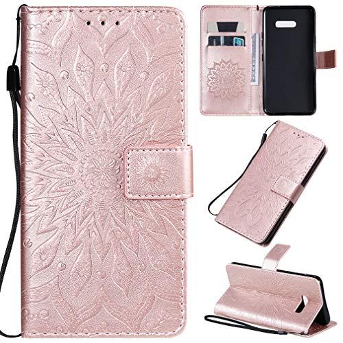 LMFULM® Hülle für LG G8X ThinQ (6,4 Zoll) PU Leder Magnet Brieftasche Lederhülle Sonnenblume Prägung Design Stent-Funktion Tasche Flip Cover Rosegold