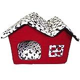 LvRao Cuccia a Casa Letto Pieghevole Staccabile Cuccia con Cuscino Casa Cuscini Divano per Cani Gatti Lettino per Animali (Rosso, S)