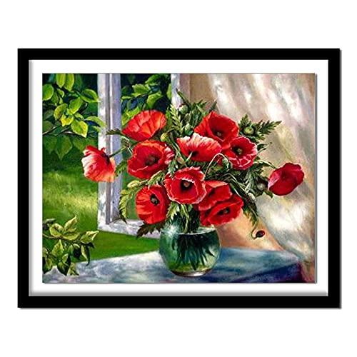 ZXXGA 5D DIY Diamante Pintura florero Flor Cristal Rhinestone Bordado Imagen Inicio decoración de la Pared artesanía Arte Redondo Diamante 40x50cm