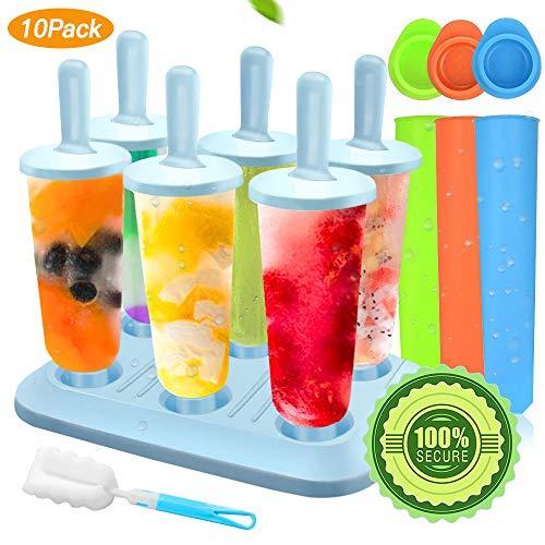 SPECOOL Moules à Glaces, Spcool 10 Pcs Chargement Plus Coque en Silicone Popsicle Moules,4 Popsicles de Silicone, Réutilisable DIY Frozen Ice Cream Pop Moules pour Enfants et Les Adultes.