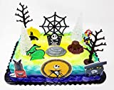 Nightmare Before Christmas Themed Birthday Cake Topper with Jack Skellington Nightmare Figures and Decorative Accessories