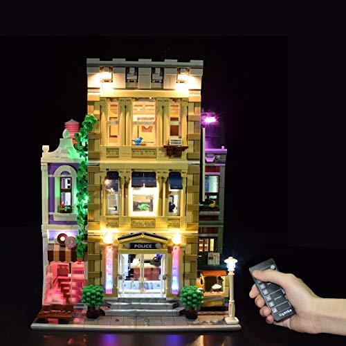 Seasy Juego de iluminación para estación de policía Lego 10278, juego de iluminación LED compatible con Lego 10278 (sin juego de Lego), versión con mando a distancia
