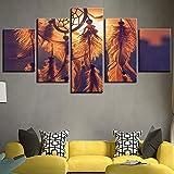 Tableau sur Toile 5 Parties a attrapé Votre rêve carillons de Vent Pendentifs de Plume Tenture Murale décorations pour la Maison de Style Attrape-rêves,20x35cmx2+20x45cmx2+20x55cmx1
