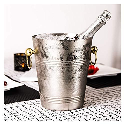 Cubo de hielo Lujo espesado grande 304 Cubo de hielo de acero inoxidable Barra de hielo Cucharas de champán Cubos de almacenamiento de cocina Refrigeradores de vino enfriadores 5L Para fiestas familia
