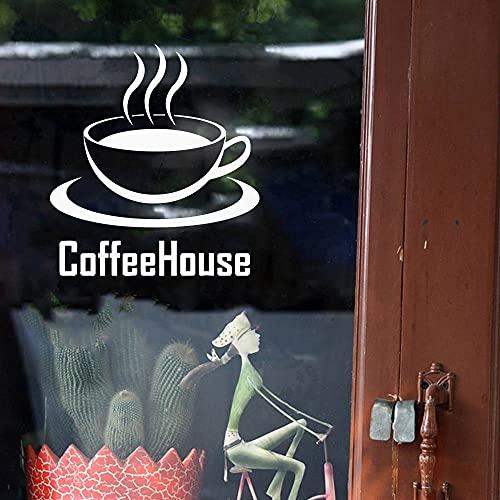 HGFDHG Tienda de café Etiqueta de la Pared Oferta café casa Arte decoración de la Ventana cafetería Etiqueta de la Pared Etiqueta de Vinilo Cocina troquelada
