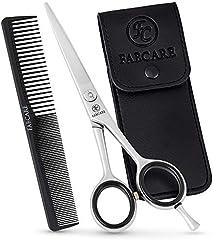 Tijeras peluqueria profesional FABCARE con peine y estuche - Tijeras para cortar el cabello con hojas microdentadas & tornillo de precisión - Tijeras de peluquería de acero