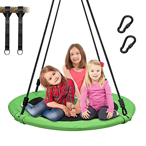 Trekassy 700lb 40 Inch Saucer Tree Swing for Kids Adults 900D Oxford Waterproof with Swivel, 2pcs 10ft Tree Hanging Straps, Steel Frame and Adjustable Ropes