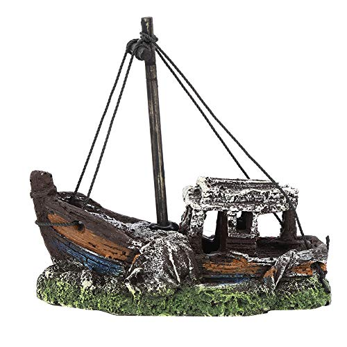 ViaGasaFamido Decoración de Acuario, Acuario de Resina Artificial de Alta simulación Modelo de naufragio decoración Ocultar casa pecera Paisaje Ornamento