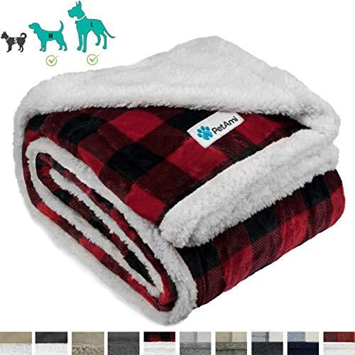 PetAmi Hundedecke Sherpa Hundedecke | Plüsch Wendedecke warme Haustierdecke für Hundebett Couch Sofa Auto, 80 x 60 Inches, kariert rot