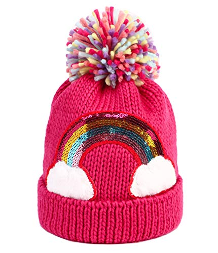 Little Girls Winter Sequin Rainbow Beanie Hat with Pom Pom Knit Cap for Kids Baby Toddler