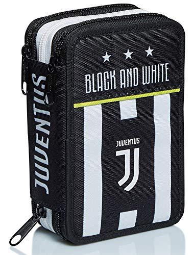 Astuccio 3 Scomparti Juventus, Best Match, Bianco e Nero, con penne, matite, colori e altro ancora