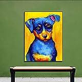 N / A Pintura sin Marco Cartel con Cabello Azul y Nariz Amarilla sobre Lienzo para la decoración del hogar de la Sala de Estar ZGQ8241 40x53cm