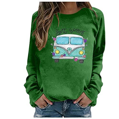 Shopler De Gran Tamaño Sudadera De Impresión Gráfica O-Cuello De Manga Larga Sólido Casual Suelto Pullover Camisa Blusa, verde, XXL