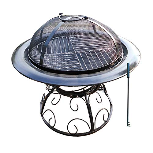 Review YAOBAO Outdoor Fire Pit BBQ Pit Patio Heater Stove,Metal Outdoor Garden Firepit with BBQ Gril...