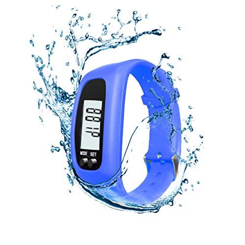 axelens Armband Schrittzähler Kalorienverbrauch Ohne App Ohne Bluetooth Mann Frau Kinder Unisex Wasserdicht Uhr für Fitness Laufen, Klettern, Gehen, Radfahren, Trecking, Turnhalle - BLAU