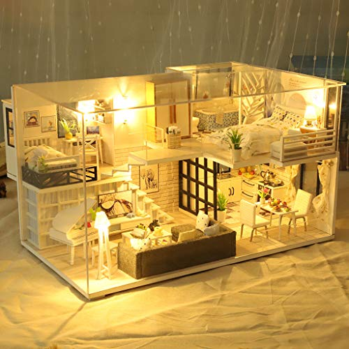 ToDIDAF Wooden Dollhouse 3D DIY Miniature House Furniture LED House Puzzle Educational Toy for Kid Birthday Valentine\'s Day for Bedroom Home Garden Decor - Mini Loft (with Dust Cover)