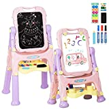 GYMAX. Kids Double-Sided Easel, Height Adjustable Standing Drawing Board with Paper Clips, Magnetic Beads, Storage Tray, 360° Rotating Children's Art Easels for Boys Girls (Pink)