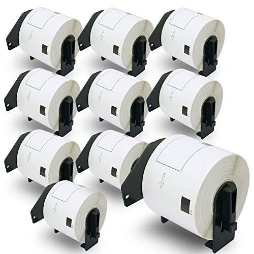 """BETCKEY - Compatible DK-1202 Shipping 2-3/7"""" x 4""""(62mm x 100mm) Replacement Labels,Compatible with Brother QL Label Printers[10 Rolls/3000 Labels with Refillable Cartridge Frame]"""