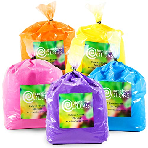 Color Powder for 15-20 People by Chameleon Colors, 25 Pounds, 5 Pound 5 Pack, Party Powder Perfect for Color Festival Powder and Color War Powder, Blue, Pink, Orange, Yellow, and Purple Holi Powder