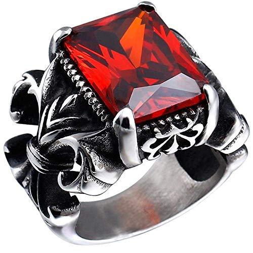 JIANLISP Anillo de época gótica Cristal Rojo Acero Inoxidable Dragon Claw Knight Cruz de la Flor de los Hombres