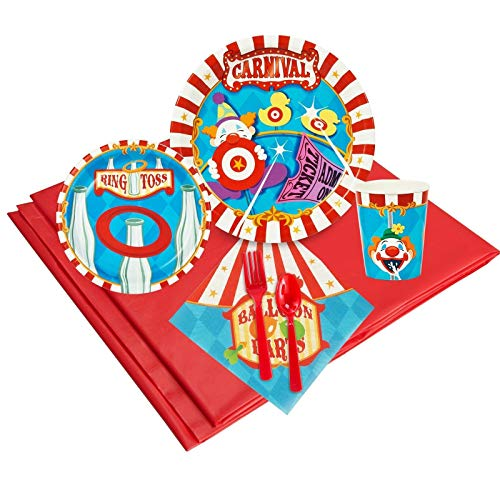 BirthdayExpress Carnival Games Theme Party Tableware Pack for 24 Guests, Multi-colored, One Size
