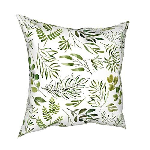 DearLord Fundas de cojín cuadradas de doble cara con estampado botánico de hojas verdes en blanco liso para sofá dormitorio con cremallera invisible 45,7 x 45,7 cm