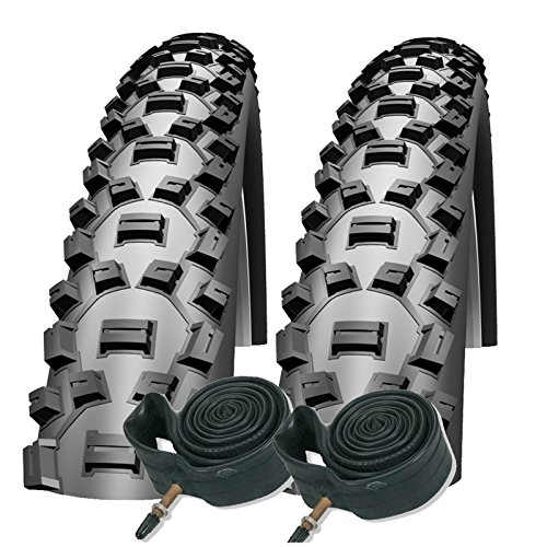 Schwalbe Nobby Nic 26 x 2.25 Mountain Bike Performance Tyres Presta Inner Tubes (Pair)