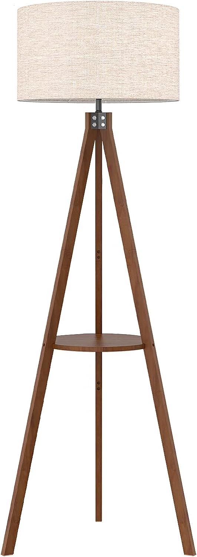 LEPOWER Shelf Tripod Floor Lamp, Mid Century Standing Lamp, Modern Design Studying Floor Light for Living Room, Bedroom, Office , Flaxen Lamp Shade with E26 Lamp Base (Brown)