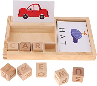 D DOLITY Word Spell Wooden Educational Toy with 8 Alphabet Printed Wood Blocks 30 Spelling Boards