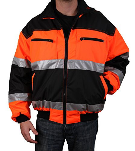 Safety Depot Reversible Jacket Class 2 ANSI Approved, Water Resistant, High Visibility Reflective Tape with Pockets (Large)