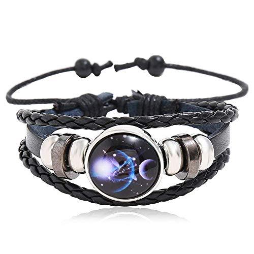 Gymqian Beaded 12 Constellation Cowhide Bracelet Couple Gift Luminous 12 Constellation Star Bracelet-Scorpio Exquisite/White 23CM