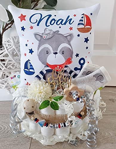 Luiertaart met naam - knuffelkussen wasbeer Maritim I fopenketting & grijpling - cadeau, babyshower, geboorte of doop + op aanvraag, gratis wenskaartjes