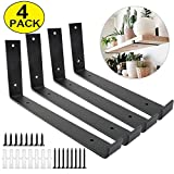 Shelf Brackets 12 Inch 4PCS Heavy Duty Black Wall Bracket with Lip for Floating Shelves Rustic Iron Metal Shelf Bracket for DIY Open Shelving Hardware Included